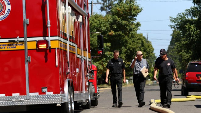 Marion County Fire responded to a flammable material call in Carlson Testing, Inc. on Tuesday, Aug. 4, 2015, in Salem, Ore. HAZMAT teams double checked the area for hazardous material.