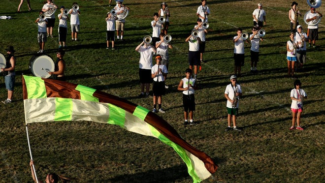 West Salem High School Marching Band reviews the part of the show that they learned during day three of band camp on Aug. 19.