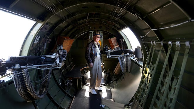 Retired Air Force Pilot Stanton Rickey, 95, of Dallas, stands inside a World War II B-17 bomber at Salem Municipal Airport on Wednesday. The Aluminum Overcast B-17G, part of a nationwide tour, will be on display and available for flights from Sept. 10-14.