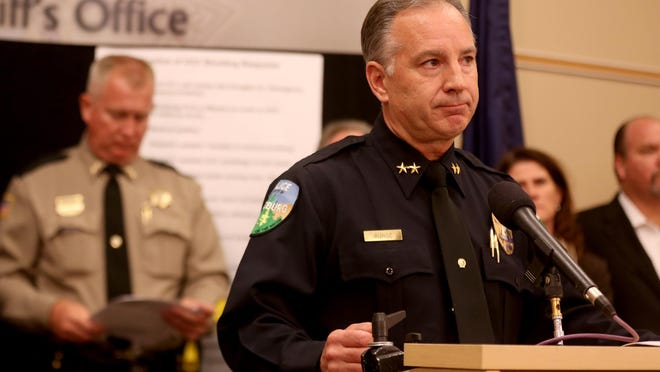 Roseburg Police Chief Jim Burge speaks during a press conference at the City of Roseburg Public Safety Center in Roseburg, Ore., on Saturday, Oct. 3, 2015. Ten people, including the shooter, were killed and nine others injured in a shooting at Umpqua Community College on Thursday.