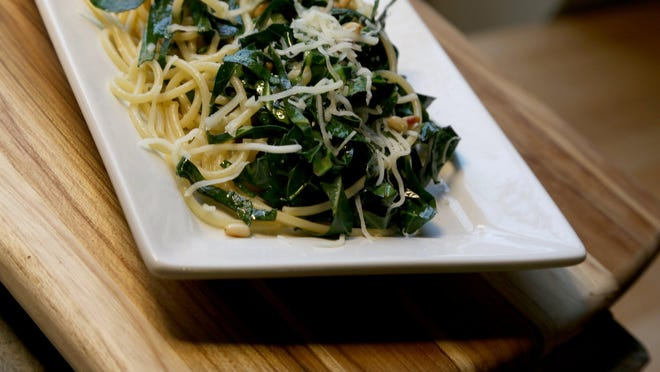 A easy to make healthy spaghetti is with lemon collards made at the kitchen inside the Great Lakes Culinary Center in Southfield on Tuesday.