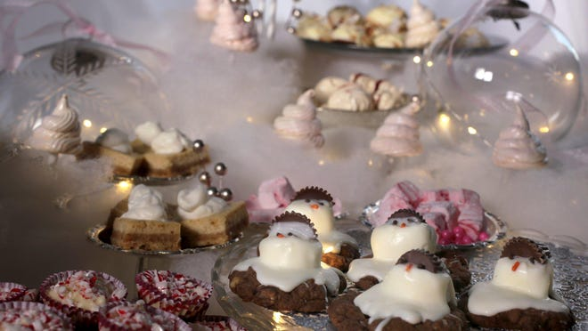 Chocolatey Melting Snowmen are the center of attention in this winter wonderland of holiday baked treats.