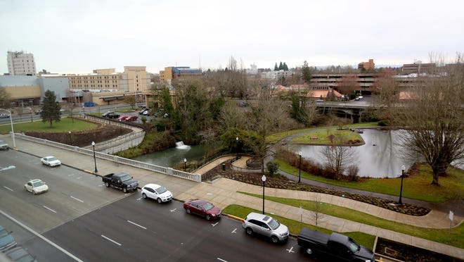 An apartment view looking toward downtown at the South Block Apartments, the former Boise Cascade site, in Salem on March 1.