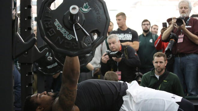 Former MSU linebacker Darien Harris hoisted 25 reps of 225 pounds on the bench press Wednesday at the Duffy Daugherty Football Building.