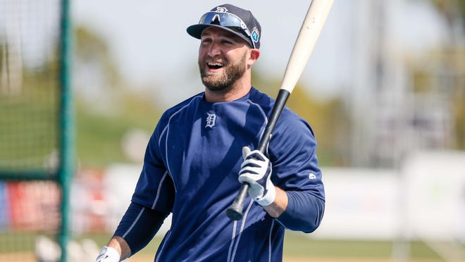Tigers outfielder Tyler Collins jokes around during batting practice for an exhibition game against Florida Southern at Joker Marchant Stadium in Lakeland, Fla. on Feb. 29.