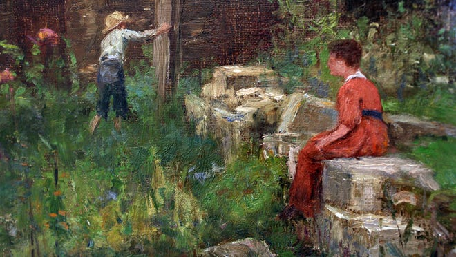 """Detail from the 1887 work titled """"An Old Garden,"""" by Indiana artist T.C. Steele."""