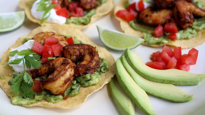 """Spicy shrimp and avocado tostadas. """"Tostada"""" means """"toast,"""" and you can use them like open-faced sandwiches."""