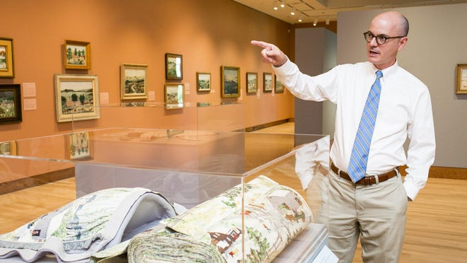 """The popularly held view is that the famous painter known as Anna Mary Robertson Moses arrived as if """"cast in amber from the 19th century,"""" according to Thomas Denenberg director of the Shelburne Museum."""