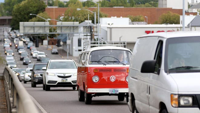 Evening rush hour traffic on the Marion Street bridge in Salem. A third bridge has been proposed to diffuse traffic.
