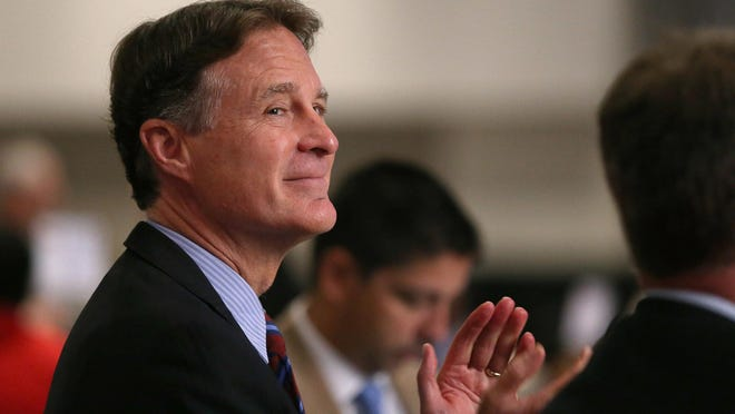Evan Bayh attends the Indiana Black Expo's corporate luncheon at the Indiana Convention Center, Friday, July 15, 2016.
