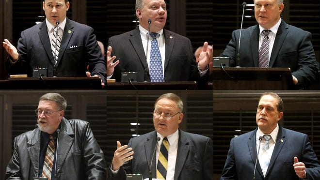 Rutherford County Sheriff Candidates answer questions and address the Rutherford County Board of Commissioners on Tuesday, Jan. 10, 2017. Top Row (L to R) Sean Michael Lenart, Keith Douglas Lowery and Thomas Layne Sissom Bottom Row (L to R) Max Lamar Thomas, Thomas Edward Thompson III and William Raymond West.