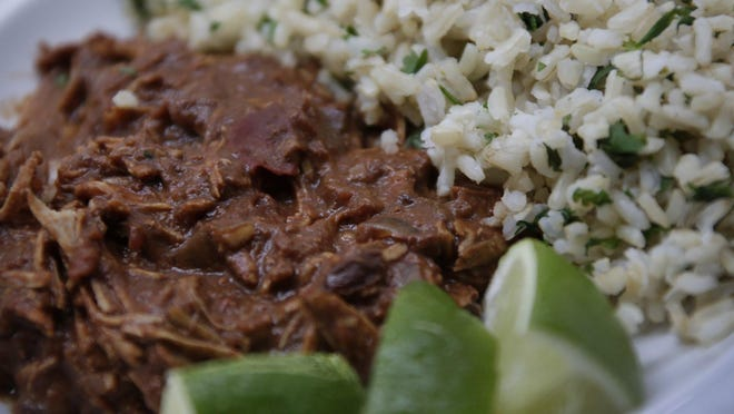 Test kitchen mole Friday April 21, 2017. Chicken Mole with Cilantro Lime Rice
