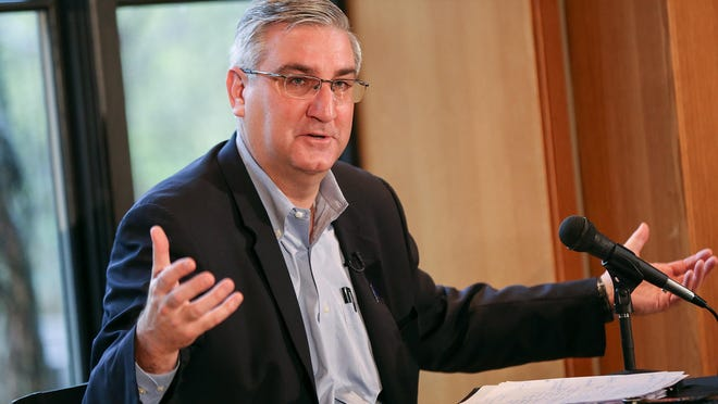 Indiana Gov. Eric Holcomb speaks during press availability at the governor's residence in Indianapolis, March 31, 2017.