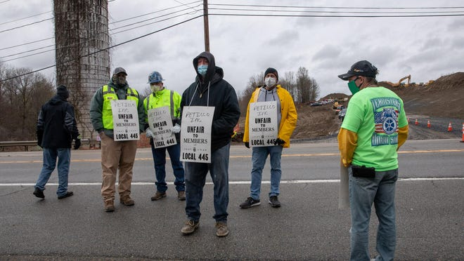 Protestors demonstrated back on April 27 against Amazon hiring practices in Rock Tavern,.