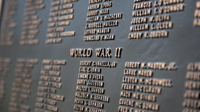 The names of Orange County men and women who have died in World Wars I and II, The Korean War and The Vietnam War are listed on a memorial in Newburgh.