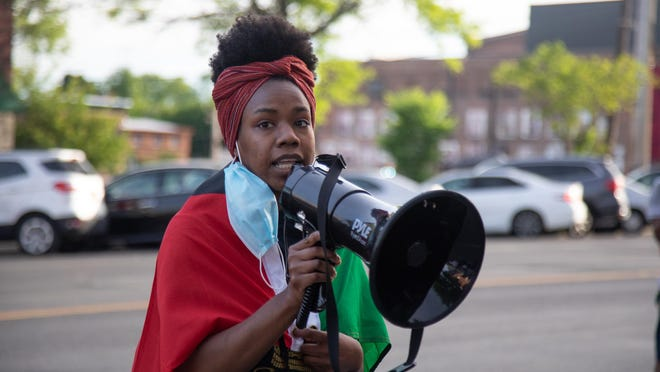 Sabrina Kee talks to over 100 Black Lives Matter protesters outside of Newburgh's City Hall on June 8, 2020.