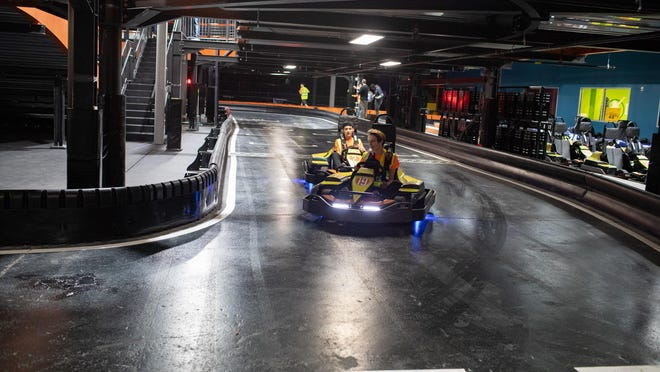 Urban Air Adventure Park employees test out the go-karts at the new 60,000-square-foot recreation facility that opened Saturday at the Galleria at Crystal Run Mall in the Town of Wallkill.