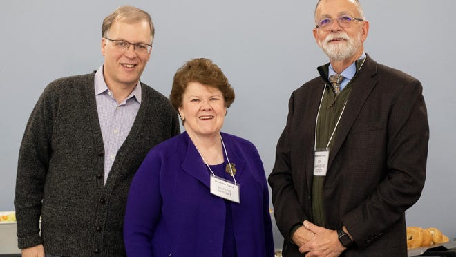 Lawrence T. Force, right, and Jeffrey Kahana, left, Social Sciences professors at Mount Saint Mary College, and Elaine Sproat, director of the ProActive Caring Initiative.