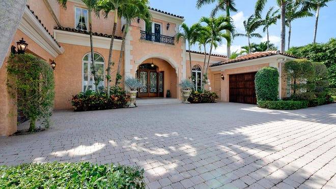 A  Mediterranean-style house at 240 Via Las Brisas in Palm Beach's Phipps Estate neighborhood has sold for a recorded $8.95 million. [Photo by Ed Zakarian, Edouard Zak Photography, courtesy William Raveis South Florida]