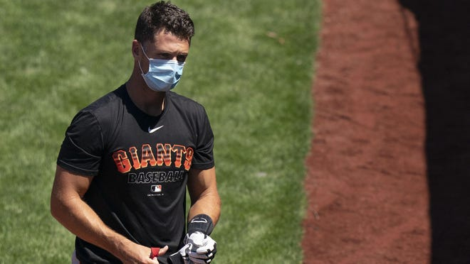 San Francisco Giants catcher Buster Posey is seen during a spring training workout at Oracle Park in San Francisco on July 5.