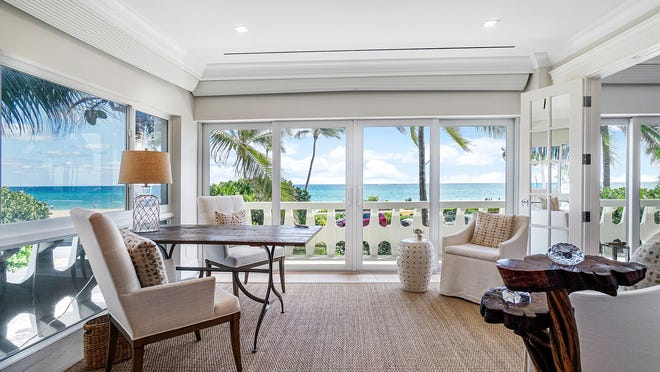 In Unit 2D at the 300 Building in Palm Beach, the master bedroom's sitting room has windows on two sides facing the sea. The co-op unit is listed for sale at $4.35 million.