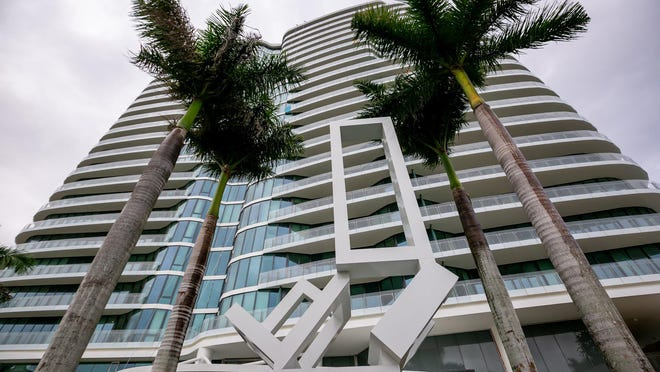 "Jane Manus' painted aluminum sculpture ""Bristol"" in 2019 outside The Bristol condominiums in West Palm Beach. The high-rise helped propel West Palm Beach property values released Wednesday."