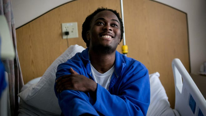 Dontrell Stephens in 2019 at Bethesda Hospital East for treatment of bed sores. Stephens, who was paralyzed from the waist down after a Palm Beach County Sheriff's deputy shot him in 2013, may finally receive part of a $22 million verdict awarded to him in 2016.