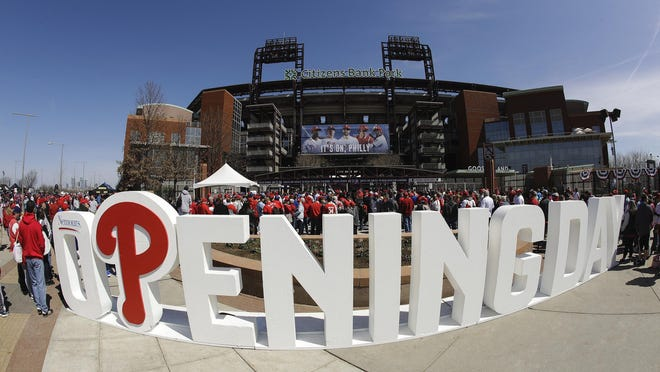 Fans gather for the Philadelphia Phillies opening day baseball game against the Atlanta Braves at Citizens Bank Park on March 28, 2019, in Philadelphia.