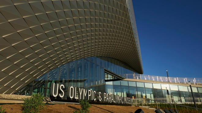 This July 17, 2020 photo provided by the U.S. Olympic & Paralympic Museum shows the U.S. Olympic Museum in Colorado Springs, Colo. The U.S. Olympic and Paralympic Museum announced Monday, July 20, 2020 that it will open July 30. The museum, located in downtown Colorado Springs, cost around $91 million and will feature 12 exhibits over 60,000 square feet. It will have a first-of-its-kind tribute to the 1980 Olympic team, which was forced to miss the Moscow Games because of a boycott.