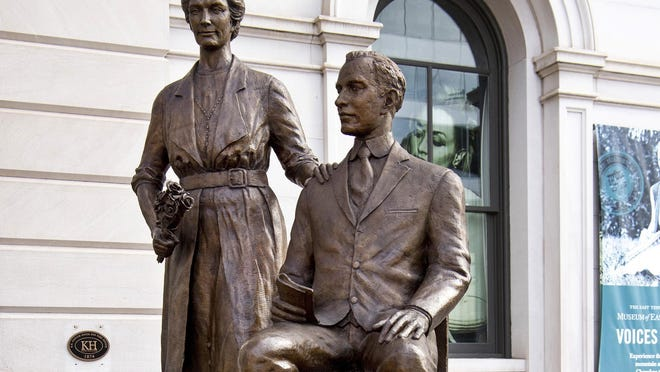 A statue of Febb Ensminger Burn and her son, Harry Burn, stands in downtown Knoxville, Tenn. Women in the United States were guaranteed the right to vote with ratification of the 19th Amendment - secured by the 24-year-old Tennessee legislator's decisive vote, cast at the bidding of his mother.