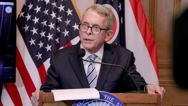 Gov. Mike DeWine address Ohio's response to the coronavirus pandemic at a prior news briefing.