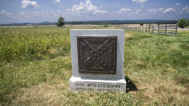 A monument for the 11th Mississippi Infantry Regiment is shown at The Battle of Gettysburg grounds in Gettysburg, Pennsylvania. Monday, June 23, 2020.
