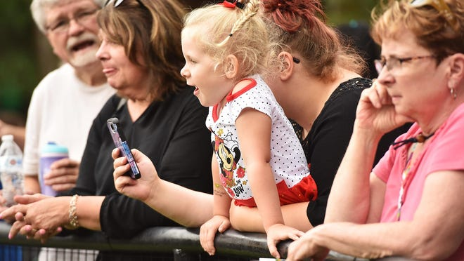 A young girl watches the sea lions at the Utica Zoo on free admission night courtesy of Operation Sunshine.