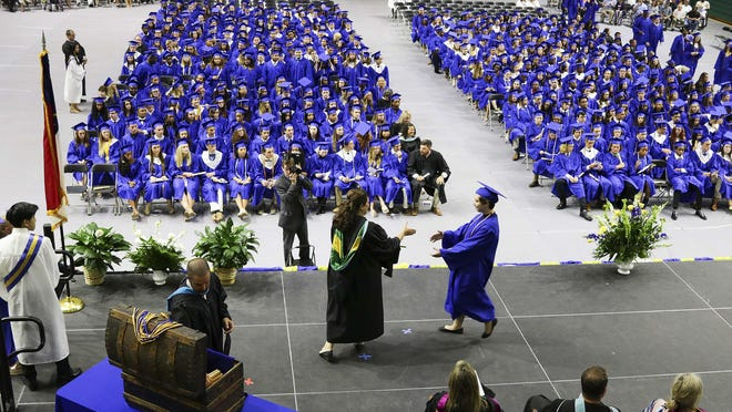 Laney High School held their graduation ceremony June 8, 2019, at Trask Coliseum on the campus of UNCW. New Hanover County Schools seniors will hold drive-in/drive-thru graduation ceremonies the week of June 15-19 at Cape Fear Community College.