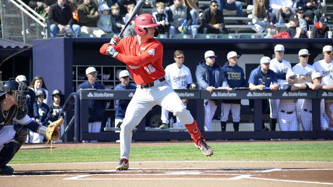 Ohio State catcher and 2017 Jackson High School graduate Dillon Dingler is seen batting during an early-season game against Georgia Tech.