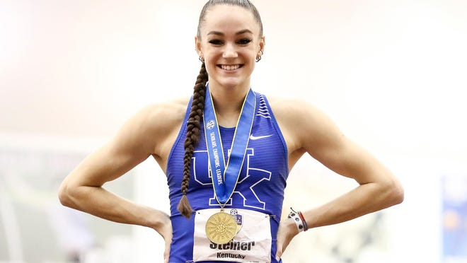 Kentucky's Abby Steiner won the 200 meters at the SEC indoor championships with a program-record time of 22.57 seconds.