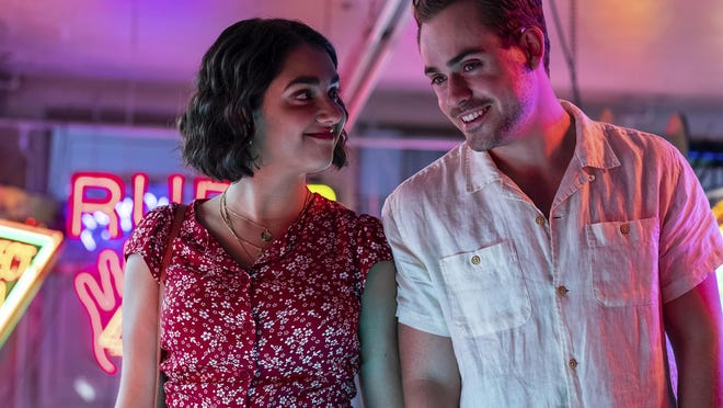 "Lucy (Geraldine Viswanathan) and Nick (Dacre Montgomery) keep running into each other after she mistakes his car for a ride share in ""The Broken Hearts Gallery."""