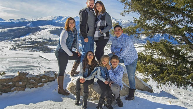 Brandi (Garcia) Livingood (top right) has overcome a lot of adversity since graduating from Pueblo West High School in 2001. She is pictured with her husband Jason and their children (from left) Abbigail, 16; Belle,13; Adalyn, 6; Tayton, 15; and Mekhi, 17.