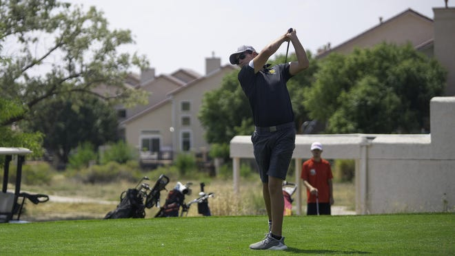 Pueblo County High School's Caden Neal watches his ball after teeing off on the fifth hole at the Centennial Invitational at Walking Stick Golf Course last Wednesday.