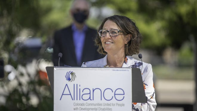 State Rep. Daneya Esgar speaks after receiving the legislator of the year award presented by Alliance at Pueblo Diversified Industries on Tuesday.