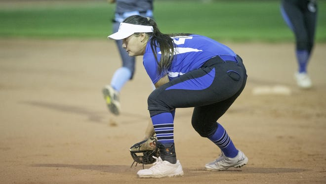 Central High School's Marlo Castro fields a ball during the Wildcat's matchup with Pueblo West on Tuesday.