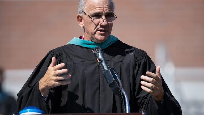 Masconomet High School Principal Peter Delani speaks to the Class of 2020 Saturday, August 1, 2020 during graduation ceremonies in Roberts Field.