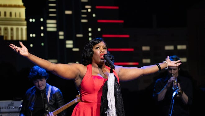 """Singer Tanya Blount-Trotter performs with the War and Treaty during a taping of """"Austin City Limits"""" at ACL Live on Tuesday, Nov. 10, 2020."""