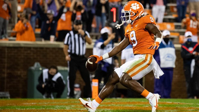 Clemson senior Travis Etienne is the only player in FBS history to score a rushing or receiving touchdown in 39 games. He's closing in on the ACC's career rushing mark, trailing 42-year leader Ted Brown (NC State, 4,602 yards) by 172 yards.