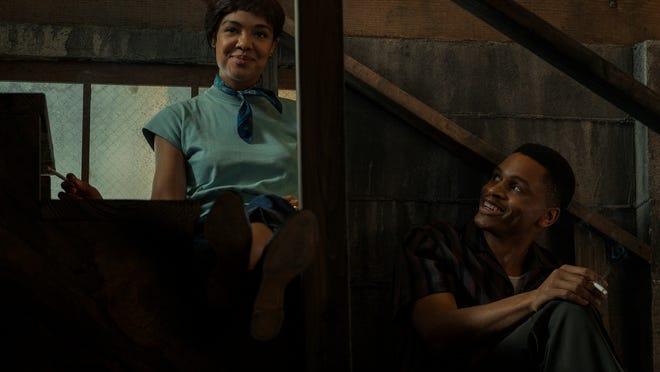 "Tessa Thompson as Sylvie Parker and Nnamdi Asomugha as Robert in ""Sylvie's Love."""