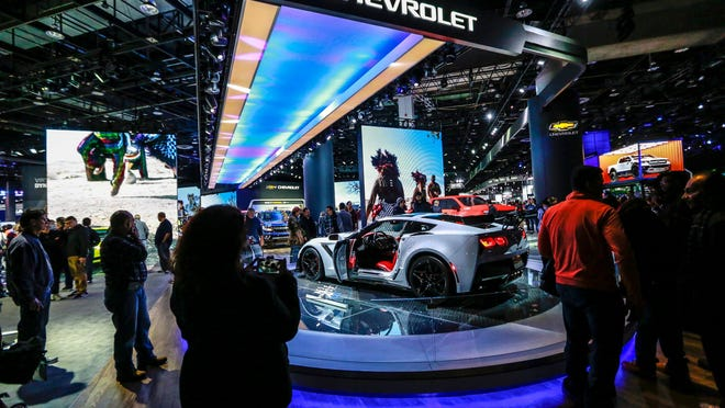 The Corvette ZR1 greets attendees as they enter the doors of the 2019 North American International Auto Show at Cobo Center in downtown Detroit on Jan. 19, 2019. the North American International Auto Show is folding its tent for 2021, relocating to M1 Concourse, a small development made up of a race track surrounded by luxury garages in Pontiac.