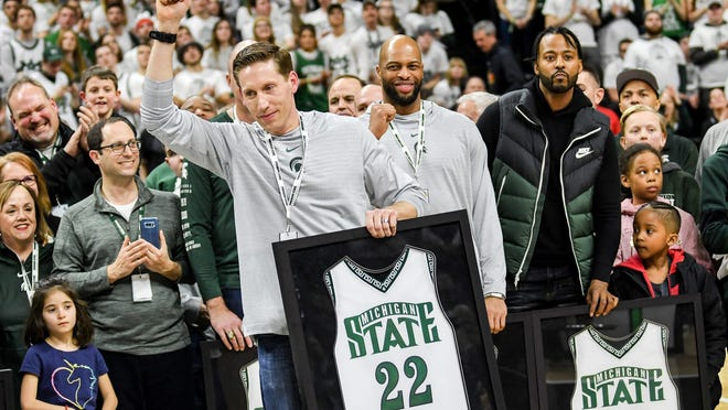 Michigan State's Steve Cherry is announced as the 2000 national championship team is recognized during half time of the Spartans game against Maryland on Saturday, Feb. 15, 2020, at the Breslin Center in East Lansing.