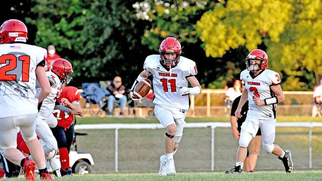 Tekonsha's Nick Hunter, shown here in early season action, ran crazy over North Adams Friday night, rushing for 238 yards and 3 scores in the Indians victory.