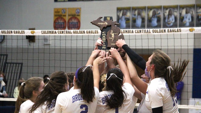 The Bronson Lady Vikings celebrate their Division Three Regional Championship Thursday at Brooklyn Columbia Central.