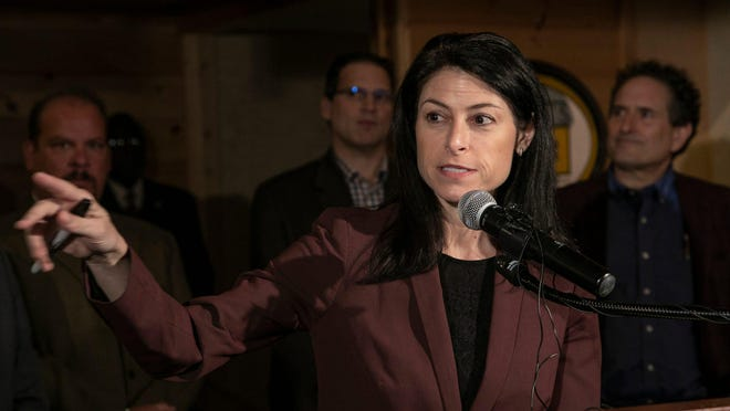 Michigan Attorney General Dana Nessel holds a press conference at M-Brew in Ferndale  Monday, March, 16, 2020. Nessel is among a group of attorneys general suing Education Secretary Betsy DeVos over a policy requiring public school districts to split their coronavirus relief funds with private school students.